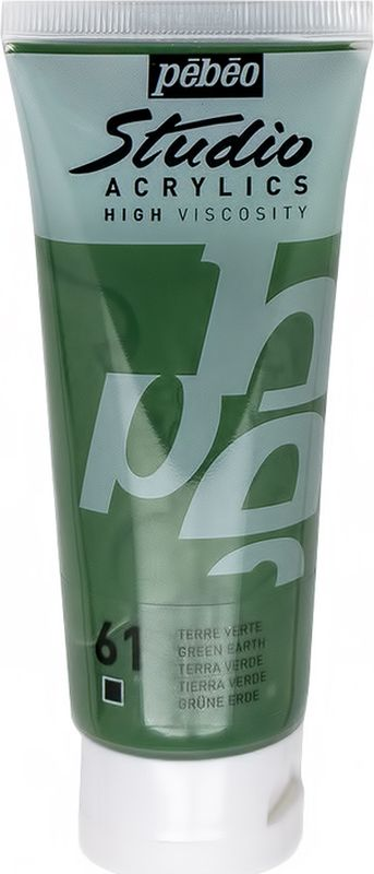 Pebeo Краска акриловая Studio Acrylics цвет 831-061 зеленая земля 100 мл