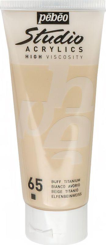 Pebeo Краска акриловая Studio Acrylics цвет 831-065 слоновая кость 100 мл831-065Акриловые краски Studio Acrylics высокой вязкости и густой консистенции Цвета живые и глубокие, богато пигментированные, имеют сатиновый блеск и очень хорошую светостойкость Обладают прекрасной адгезией, не смываются после высыхания Смешиваются друг с другом Образуют прочную и эластичную пленку Наносятся на холст, картон, дерево, металл и другие поверхности Сохнут от 30 минут до 1 часа, полное высыхание 1-8 дней в зависимости от толщины слоя Очистка инструментов: вода