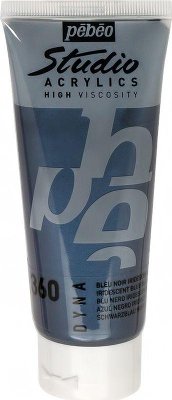Pebeo Краска акриловая Studio Acrylics Dyna цвет 832-360 сине-серный иридисцентный 100 мл832-360Акриловые краски Studio Acrylics Dyna содержат иридисцентные пигменты, позволяющие краскам менять цвет в зависимости от угла преломления света Обладают прекрасной адгезией, не смываются после высыхания Смешиваются друг с другом Образуют прочную и эластичную пленку Наносятся на холст, картон, дерево, металл и другие поверхности Сохнут от 30 минут до 1 часа, полное высыхание 1-8 дней в зависимости от толщины слоя Очистка инструментов: вода