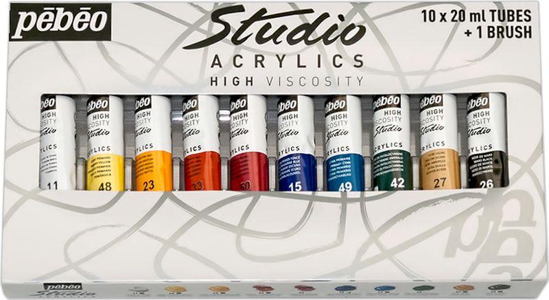 Pebeo Краска акриловая набор Studio Acrylics с кистью 10 цветов 833311 20 мл833311Состав: 10 туб по 20 мл, 1 кисть Густая консистенция Цвета живые и глубокие, богато пигментированные, имеют сатиновый блеск и очень хорошую светостойкость Краска обладает прекрасной адгезией, не смывается после высыхания Наносится на холст, картон, дерево, металл и другие поверхности Сохнет от 30мин до 1час, полное высыхание 1-8 дней в зависимости от толщины слоя Очистка инструментов: вода