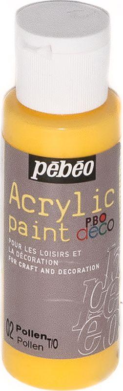 Pebeo Краска акриловая декоративная Acrylic Paint цвет 097002 пыльца 59 мл097002Декоративные акриловые краски Acrylic Paint предназначены для росписи по дереву, гипсу, картону и другим поверхностям Краски смешиваются друг с другом Водостойкие после высыхания Обладают высокой покрывной способностью Имеют матовый блеск Разводятся водой