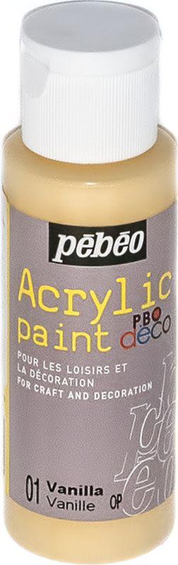 Pebeo Краска акриловая декоративная Acrylic Paint цвет 097001 ваниль 59 мл097001Декоративные акриловые краски Acrylic Paint предназначены для росписи по дереву, гипсу, картону и другим поверхностям Краски смешиваются друг с другом Водостойкие после высыхания Обладают высокой покрывной способностью Имеют матовый блеск Разводятся водой