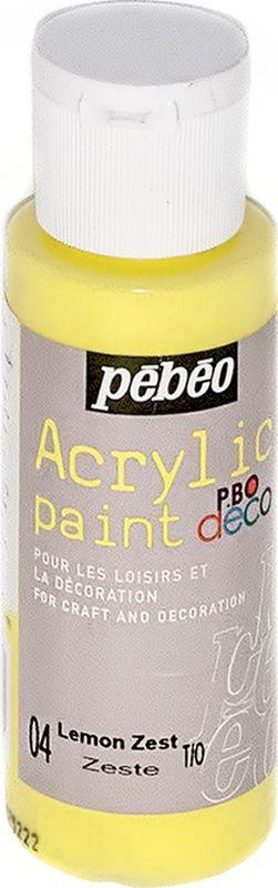 Pebeo Краска акриловая декоративная Acrylic Paint цвет 097004 лимонный 59 мл097004Декоративные акриловые краски Acrylic Paint предназначены для росписи по дереву, гипсу, картону и другим поверхностям Краски смешиваются друг с другом Водостойкие после высыхания Обладают высокой покрывной способностью Имеют матовый блеск Разводятся водой