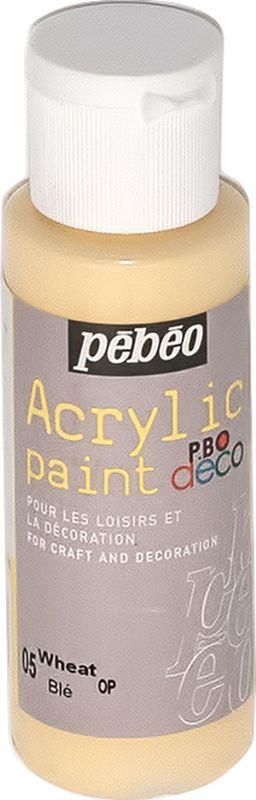 Pebeo Краска акриловая декоративная Acrylic Paint цвет 05 пшеничный 59 мл097005Декоративные акриловые краски Acrylic Paint предназначены для росписи по дереву, гипсу, картону и другим поверхностям. - Краски смешиваются друг с другом. - Водостойкие после высыхания. - Обладают высокой покрывной способностью. - Имеют матовый блеск. - Разводятся водой.