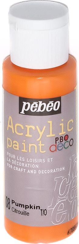 Pebeo Краска акриловая декоративная Acrylic Paint цвет 097008 тыква 59 мл097008Декоративные акриловые краски Acrylic Paint предназначены для росписи по дереву, гипсу, картону и другим поверхностямКраски смешиваются друг с другомВодостойкие после высыханияОбладают высокой покрывной способностьюИмеют матовый блескРазводятся водой