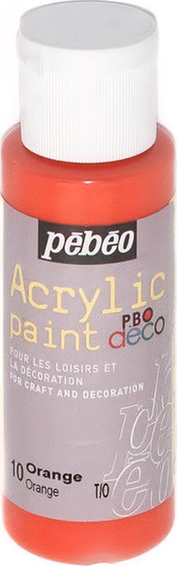 Pebeo Краска акриловая декоративная Acrylic Paint цвет 097010 апельсин 59 мл097010Декоративные акриловые краски Acrylic Paint предназначены для росписи по дереву, гипсу, картону и другим поверхностям Краски смешиваются друг с другом Водостойкие после высыхания Обладают высокой покрывной способностью Имеют матовый блеск Разводятся водой