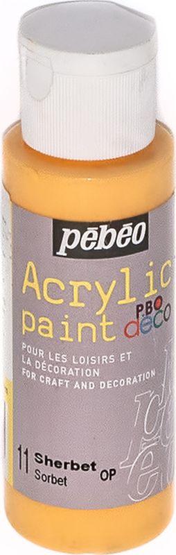 Pebeo Краска акриловая декоративная Acrylic Paint цвет 11 щербет 59 мл097011Декоративные акриловые краски Acrylic Paint предназначены для росписи по дереву, гипсу, картону и другим поверхностям. - Краски смешиваются друг с другом. - Водостойкие после высыхания. - Обладают высокой покрывной способностью. - Имеют матовый блеск. - Разводятся водой.