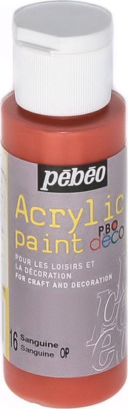 Pebeo Краска акриловая декоративная Acrylic Paint цвет 16 сангина 59 мл097016Декоративные акриловые краски Acrylic Paint предназначены для росписи по дереву, гипсу, картону и другим поверхностям. - Краски смешиваются друг с другом. - Водостойкие после высыхания. - Обладают высокой покрывной способностью. - Имеют матовый блеск. - Разводятся водой.