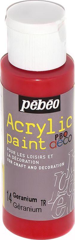 Pebeo Краска акриловая декоративная Acrylic Paint цвет 097014 герань 59 мл097014Декоративные акриловые краски Acrylic Paint предназначены для росписи по дереву, гипсу, картону и другим поверхностямКраски смешиваются друг с другомВодостойкие после высыханияОбладают высокой покрывной способностьюИмеют матовый блескРазводятся водой