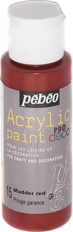 Pebeo Краска акриловая декоративная Acrylic Paint цвет 15 мареновый красный 59 мл097015Декоративные акриловые краски Acrylic Paint предназначены для росписи по дереву, гипсу, картону и другим поверхностям. - Краски смешиваются друг с другом. - Водостойкие после высыхания. - Обладают высокой покрывной способностью. - Имеют матовый блеск. - Разводятся водой.
