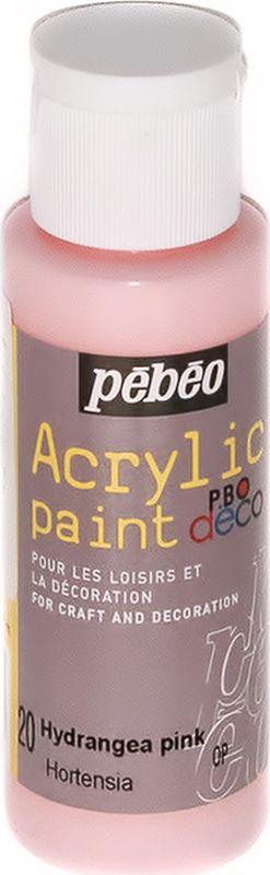 Pebeo Краска акриловая декоративная Acrylic Paint цвет 097020 розовая гортензия 59 мл097020Декоративные акриловые краски Acrylic Paint предназначены для росписи по дереву, гипсу, картону и другим поверхностям Краски смешиваются друг с другом Водостойкие после высыхания Обладают высокой покрывной способностью Имеют матовый блеск Разводятся водой