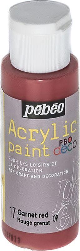 Pebeo Краска акриловая декоративная Acrylic Paint цвет 17 гранатовый 59 мл097017Декоративные акриловые краски Acrylic Paint предназначены для росписи по дереву, гипсу, картону и другим поверхностям. - Краски смешиваются друг с другом. - Водостойкие после высыхания. - Обладают высокой покрывной способностью. - Имеют матовый блеск. - Разводятся водой.