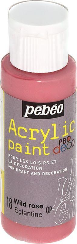 Pebeo Краска акриловая декоративная Acrylic Paint цвет 097018 дикая роза 59 мл097018Декоративные акриловые краски Acrylic Paint предназначены для росписи по дереву, гипсу, картону и другим поверхностям Краски смешиваются друг с другом Водостойкие после высыхания Обладают высокой покрывной способностью Имеют матовый блеск Разводятся водой