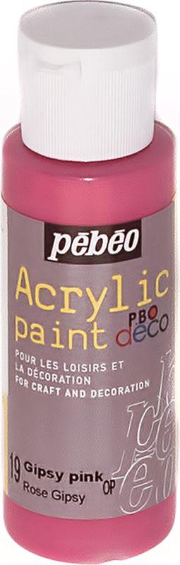 Pebeo Краска акриловая декоративная Acrylic Paint цвет 097019 цыганский розовый 59 мл097019Декоративные акриловые краски Acrylic Paint предназначены для росписи по дереву, гипсу, картону и другим поверхностям Краски смешиваются друг с другом Водостойкие после высыхания Обладают высокой покрывной способностью Имеют матовый блеск Разводятся водой