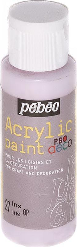 Pebeo Краска акриловая декоративная Acrylic Paint цвет 097027 ирис 59 мл097027Декоративные акриловые краски Acrylic Paint предназначены для росписи по дереву, гипсу, картону и другим поверхностям Краски смешиваются друг с другом Водостойкие после высыхания Обладают высокой покрывной способностью Имеют матовый блеск Разводятся водой
