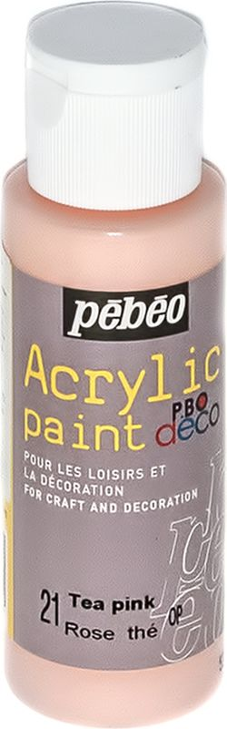 Pebeo Краска акриловая декоративная Acrylic Paint цвет 097021 чайная роза 59 мл097021Декоративные акриловые краски Acrylic Paint предназначены для росписи по дереву, гипсу, картону и другим поверхностям Краски смешиваются друг с другом Водостойкие после высыхания Обладают высокой покрывной способностью Имеют матовый блеск Разводятся водой