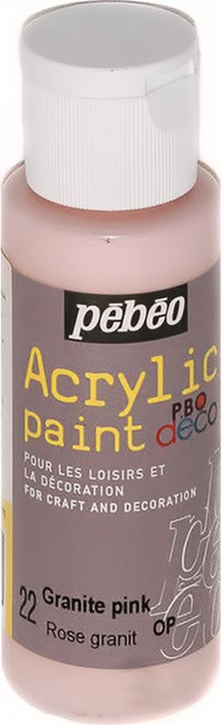 Pebeo Краска акриловая декоративная Acrylic Paint цвет 097022 розовый гранит 59 мл097022Декоративные акриловые краски Acrylic Paint предназначены для росписи по дереву, гипсу, картону и другим поверхностям Краски смешиваются друг с другом Водостойкие после высыхания Обладают высокой покрывной способностью Имеют матовый блеск Разводятся водой