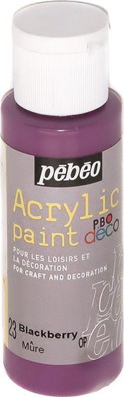 Pebeo Краска акриловая декоративная Acrylic Paint цвет 097023 черная смородина 59 мл097023Декоративные акриловые краски Acrylic Paint предназначены для росписи по дереву, гипсу, картону и другим поверхностям Краски смешиваются друг с другом Водостойкие после высыхания Обладают высокой покрывной способностью Имеют матовый блеск Разводятся водой