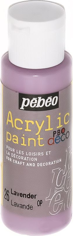 Pebeo Краска акриловая декоративная Acrylic Paint цвет 097026 лаванда 59 мл097026Декоративные акриловые краски Acrylic Paint предназначены для росписи по дереву, гипсу, картону и другим поверхностямКраски смешиваются друг с другомВодостойкие после высыханияОбладают высокой покрывной способностьюИмеют матовый блескРазводятся водой