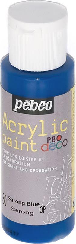 Pebeo Краска акриловая декоративная Acrylic Paint цвет 097030 голубой саронг 59 мл097030Декоративные акриловые краски Acrylic Paint предназначены для росписи по дереву, гипсу, картону и другим поверхностям Краски смешиваются друг с другом Водостойкие после высыхания Обладают высокой покрывной способностью Имеют матовый блеск Разводятся водой
