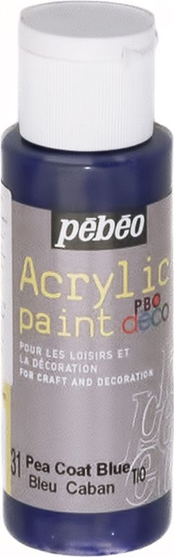 Pebeo Краска акриловая декоративная Acrylic Paint цвет 097031 голубой 59 мл097031Декоративные акриловые краски Acrylic Paint предназначены для росписи по дереву, гипсу, картону и другим поверхностям Краски смешиваются друг с другом Водостойкие после высыхания Обладают высокой покрывной способностью Имеют матовый блеск Разводятся водой