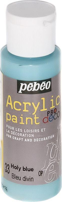 Pebeo Краска акриловая декоративная Acrylic Paint цвет 097033 голубой чистый 59 мл097033Декоративные акриловые краски Acrylic Paint предназначены для росписи по дереву, гипсу, картону и другим поверхностям Краски смешиваются друг с другом Водостойкие после высыхания Обладают высокой покрывной способностью Имеют матовый блеск Разводятся водой