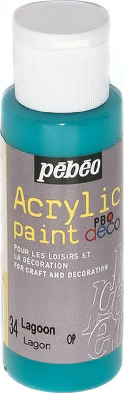 Pebeo Краска акриловая декоративная Acrylic Paint цвет 34 голубая лагуна 59 мл097034Декоративные акриловые краски Acrylic Paint предназначены для росписи по дереву, гипсу, картону и другим поверхностям.- Краски смешиваются друг с другом.- Водостойкие после высыхания.- Обладают высокой покрывной способностью.- Имеют матовый блеск.- Разводятся водой.