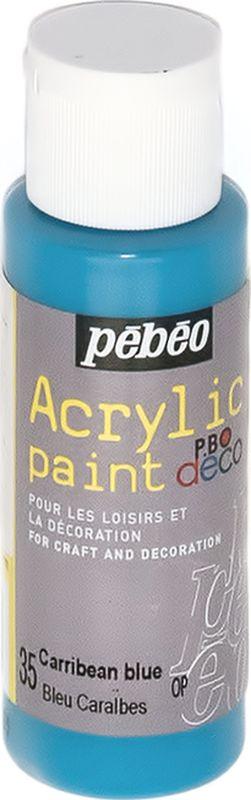 Pebeo Краска акриловая декоративная Acrylic Paint цвет 35 голубой карибский 59 мл097035Декоративные акриловые краски Acrylic Paint предназначены для росписи по дереву, гипсу, картону и другим поверхностям. - Краски смешиваются друг с другом. - Водостойкие после высыхания. - Обладают высокой покрывной способностью. - Имеют матовый блеск. - Разводятся водой.