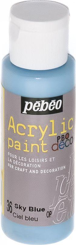 Pebeo Краска акриловая декоративная Acrylic Paint цвет 36 голубой небесный 59 мл097036Декоративные акриловые краски Acrylic Paint предназначены для росписи по дереву, гипсу, картону и другим поверхностям.- Краски смешиваются друг с другом.- Водостойкие после высыхания.- Обладают высокой покрывной способностью.- Имеют матовый блеск.- Разводятся водой.