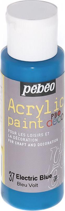 Pebeo Краска акриловая декоративная Acrylic Paint цвет 37 голубой электрический 59 мл097037Декоративные акриловые краски Acrylic Paint предназначены для росписи по дереву, гипсу, картону и другим поверхностям. - Краски смешиваются друг с другом. - Водостойкие после высыхания. - Обладают высокой покрывной способностью. - Имеют матовый блеск. - Разводятся водой.