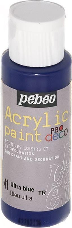 Pebeo Краска акриловая декоративная Acrylic Paint цвет 097041 ультра синий 59 мл097041Декоративные акриловые краски Acrylic Paint предназначены для росписи по дереву, гипсу, картону и другим поверхностям Краски смешиваются друг с другом Водостойкие после высыхания Обладают высокой покрывной способностью Имеют матовый блеск Разводятся водой