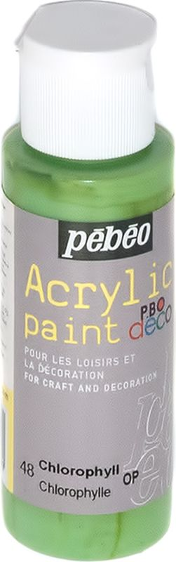 Pebeo Краска акриловая декоративная Acrylic Paint цвет 097048 хлорофилл 59 мл097048Декоративные акриловые краски Acrylic Paint предназначены для росписи по дереву, гипсу, картону и другим поверхностям Краски смешиваются друг с другом Водостойкие после высыхания Обладают высокой покрывной способностью Имеют матовый блеск Разводятся водой