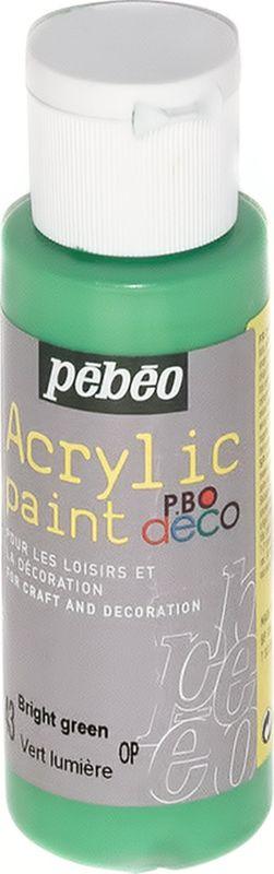 Pebeo Краска акриловая декоративная Acrylic Paint цвет 43 зеленый яркий 59 мл097043Декоративные акриловые краски Acrylic Paint предназначены для росписи по дереву, гипсу, картону и другим поверхностям. - Краски смешиваются друг с другом. - Водостойкие после высыхания. - Обладают высокой покрывной способностью. - Имеют матовый блеск. - Разводятся водой.