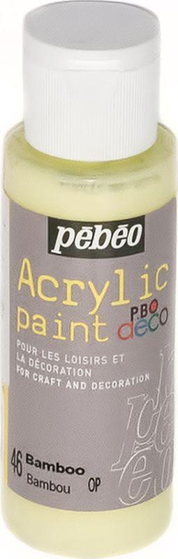 Pebeo Краска акриловая декоративная Acrylic Paint цвет 46 бамбук 59 мл097046Декоративные акриловые краски Acrylic Paint предназначены для росписи по дереву, гипсу, картону и другим поверхностям. - Краски смешиваются друг с другом. - Водостойкие после высыхания. - Обладают высокой покрывной способностью. - Имеют матовый блеск. - Разводятся водой.