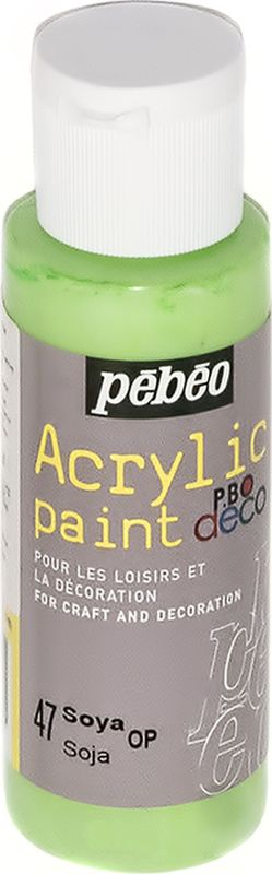 Pebeo Краска акриловая декоративная Acrylic Paint цвет 097047 соя 59 мл097047Декоративные акриловые краски Acrylic Paint предназначены для росписи по дереву, гипсу, картону и другим поверхностям Краски смешиваются друг с другом Водостойкие после высыхания Обладают высокой покрывной способностью Имеют матовый блеск Разводятся водой