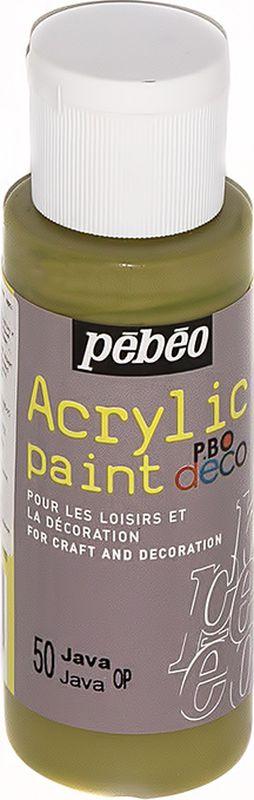 Pebeo Краска акриловая декоративная Acrylic Paint цвет 097050 яванский 59 мл097050Декоративные акриловые краски Acrylic Paint предназначены для росписи по дереву, гипсу, картону и другим поверхностямКраски смешиваются друг с другомВодостойкие после высыханияОбладают высокой покрывной способностьюИмеют матовый блескРазводятся водой