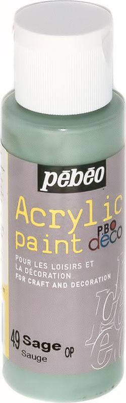 Pebeo Краска акриловая декоративная Acrylic Paint цвет 097049 шалфей 59 мл097049Декоративные акриловые краски Acrylic Paint предназначены для росписи по дереву, гипсу, картону и другим поверхностямКраски смешиваются друг с другомВодостойкие после высыханияОбладают высокой покрывной способностьюИмеют матовый блескРазводятся водой
