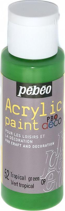 Pebeo Краска акриловая декоративная Acrylic Paint цвет 52 зеленый тропический 59 мл097052Декоративные акриловые краски Acrylic Paint предназначены для росписи по дереву, гипсу, картону и другим поверхностям. - Краски смешиваются друг с другом. - Водостойкие после высыхания. - Обладают высокой покрывной способностью. - Имеют матовый блеск. - Разводятся водой.