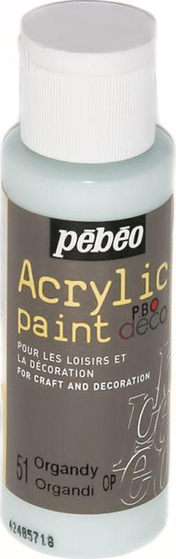 Pebeo Краска акриловая декоративная Acrylic Paint цвет 097051 органза 59 мл097051Декоративные акриловые краски Acrylic Paint предназначены для росписи по дереву, гипсу, картону и другим поверхностям Краски смешиваются друг с другом Водостойкие после высыхания Обладают высокой покрывной способностью Имеют матовый блеск Разводятся водой
