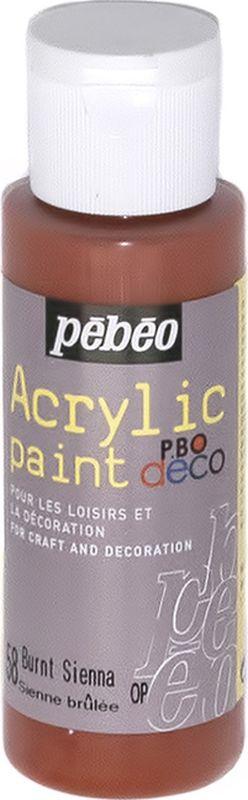 Pebeo Краска акриловая декоративная Acrylic Paint цвет 097058 сиена жженая 59 мл097058Декоративные акриловые краски Acrylic Paint предназначены для росписи по дереву, гипсу, картону и другим поверхностям Краски смешиваются друг с другом Водостойкие после высыхания Обладают высокой покрывной способностью Имеют матовый блеск Разводятся водой