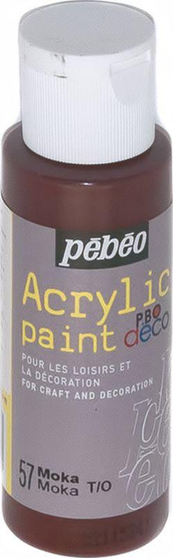 Pebeo Краска акриловая декоративная Acrylic Paint цвет 097057 мокка 59 мл097057Декоративные акриловые краски Acrylic Paint предназначены для росписи по дереву, гипсу, картону и другим поверхностям Краски смешиваются друг с другом Водостойкие после высыхания Обладают высокой покрывной способностью Имеют матовый блеск Разводятся водой