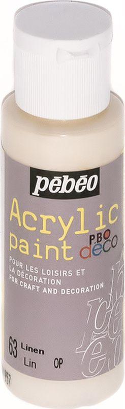 Pebeo Краска акриловая декоративная Acrylic Paint цвет 097063 лен 59 мл097063Декоративные акриловые краски Acrylic Paint предназначены для росписи по дереву, гипсу, картону и другим поверхностям Краски смешиваются друг с другом Водостойкие после высыхания Обладают высокой покрывной способностью Имеют матовый блеск Разводятся водой
