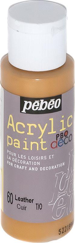 Pebeo Краска акриловая декоративная Acrylic Paint цвет 60 кожа 59 мл831-064Декоративные акриловые краски Acrylic Paint предназначены для росписи по дереву, гипсу, картону и другим поверхностям. - Краски смешиваются друг с другом. - Водостойкие после высыхания. - Обладают высокой покрывной способностью. - Имеют матовый блеск. - Разводятся водой.