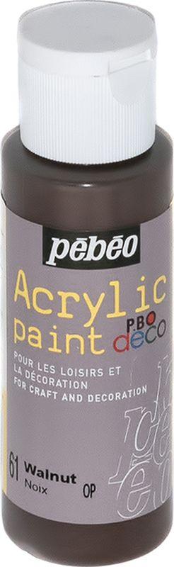 Pebeo Краска акриловая декоративная Acrylic Paint цвет 097061 орех 59 мл097061Декоративные акриловые краски Acrylic Paint предназначены для росписи по дереву, гипсу, картону и другим поверхностям Краски смешиваются друг с другом Водостойкие после высыхания Обладают высокой покрывной способностью Имеют матовый блеск Разводятся водой