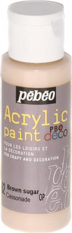 Pebeo Краска акриловая декоративная Acrylic Paint цвет 097062 жженый сахар 59 мл097062Декоративные акриловые краски Acrylic Paint предназначены для росписи по дереву, гипсу, картону и другим поверхностям Краски смешиваются друг с другом Водостойкие после высыхания Обладают высокой покрывной способностью Имеют матовый блеск Разводятся водой
