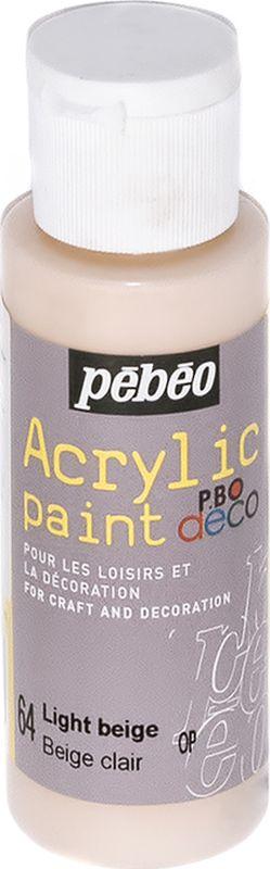 Pebeo Краска акриловая декоративная Acrylic Paint цвет 64 бежевый светлый 59 мл097064Декоративные акриловые краски Acrylic Paint предназначены для росписи по дереву, гипсу, картону и другим поверхностям. - Краски смешиваются друг с другом. - Водостойкие после высыхания. - Обладают высокой покрывной способностью. - Имеют матовый блеск. - Разводятся водой.