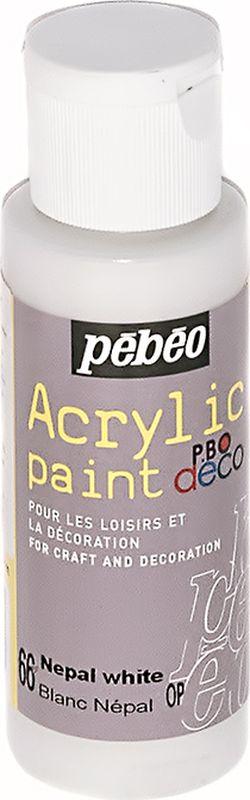 Pebeo Краска акриловая декоративная Acrylic Paint цвет 097066 бежевый непальский 59 мл097066Декоративные акриловые краски Acrylic Paint предназначены для росписи по дереву, гипсу, картону и другим поверхностям Краски смешиваются друг с другом Водостойкие после высыхания Обладают высокой покрывной способностью Имеют матовый блеск Разводятся водой