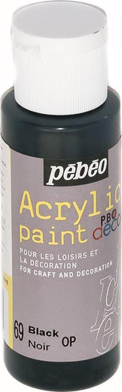 Pebeo Краска акриловая декоративная Acrylic Paint цвет 69 черный 59 мл097069Декоративные акриловые краски Acrylic Paint предназначены для росписи по дереву, гипсу, картону и другим поверхностям. - Краски смешиваются друг с другом. - Водостойкие после высыхания. - Обладают высокой покрывной способностью. - Имеют матовый блеск. - Разводятся водой.