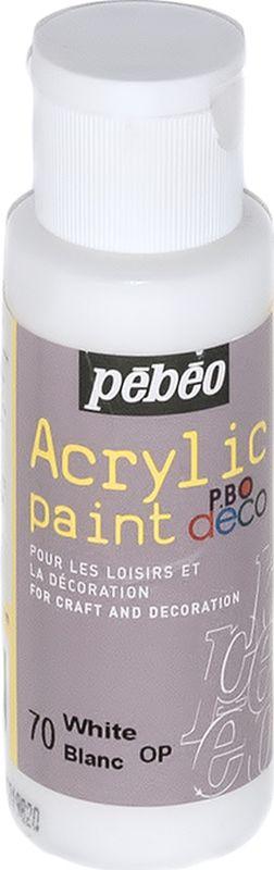 Pebeo Краска акриловая декоративная Acrylic Paint цвет 097070 белый 59 мл097070Декоративные акриловые краски Acrylic Paint предназначены для росписи по дереву, гипсу, картону и другим поверхностямКраски смешиваются друг с другомВодостойкие после высыханияОбладают высокой покрывной способностьюИмеют матовый блескРазводятся водой