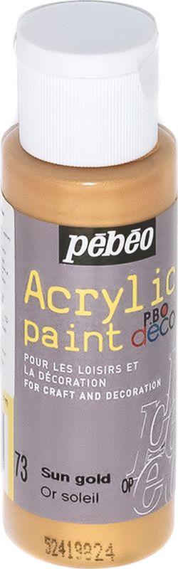 Pebeo Краска акриловая декоративная Acrylic Paint цвет 097073 золотой солнечный металлик 59 мл097073Декоративные акриловые краски Acrylic Paint предназначены для росписи по дереву, гипсу, картону и другим поверхностямКраски смешиваются друг с другомВодостойкие после высыханияОбладают высокой покрывной способностьюИмеют матовый блескРазводятся водой